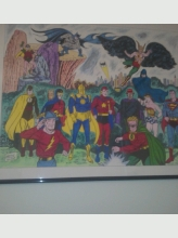 batman and friends   28x18 hand colored by shelly